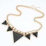 Big Gold Black Triangle Necklace