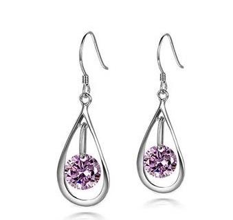 Sparkling Drop Purple Earrings