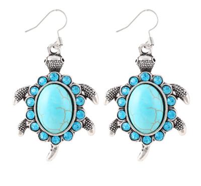 Blue Turtle Earrings
