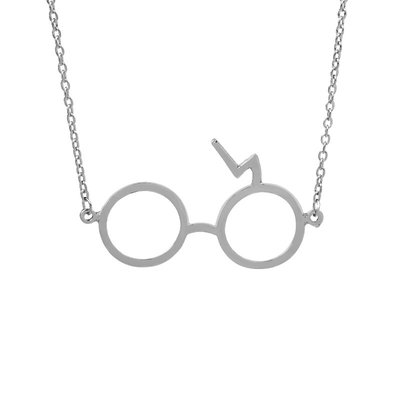 Necklace Round Glasses Silver