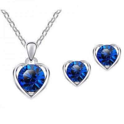 Silver Heart Set Blue