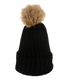 Cute Fuzzy Ball Black Cap