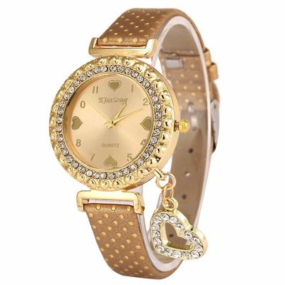 Watch Love Heart Gold Brown