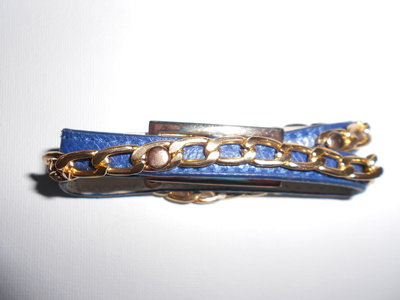 Bracelet Blue Leather meets Gold