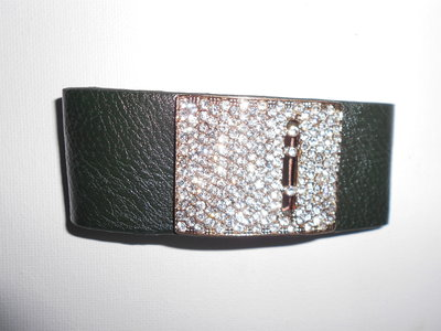 Bracelet Diamonds & Green Leather