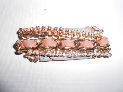 Bracelet Pink Leather Meets Gold & Diamonds