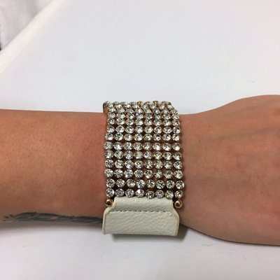 Bracelet Diamond Flash White Leather