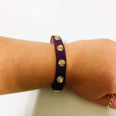 Bracelet Diamond Purple Leather