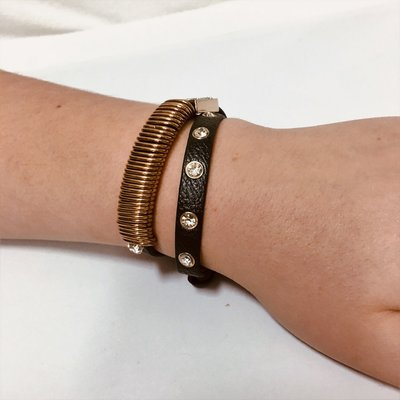 Bracelet Gold Black Leather Diamond Flash
