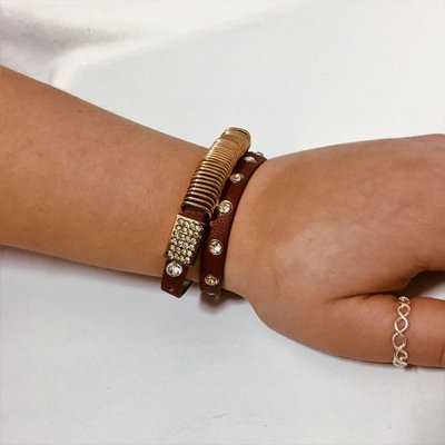 Bracelet Gold Red Leather Diamond Flash