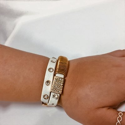 Bracelet Gold White Leather Diamond Flash