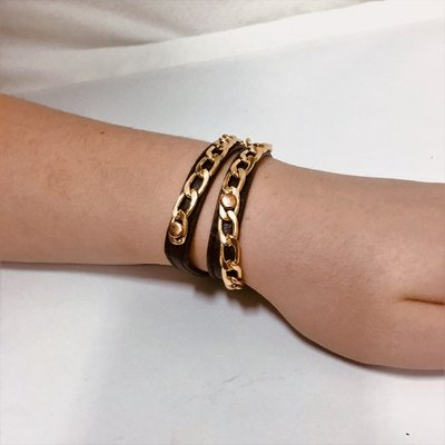 Bracelet Gold Meets Black Leather