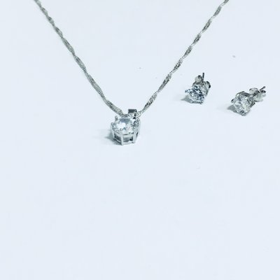 Jewelry Set Silver Diamonds