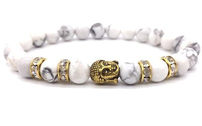 Bracelet Charm Buddha Gold White Grey Beads