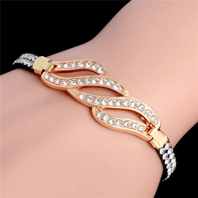 Wedding Bracelet Cubic Crystals Gold