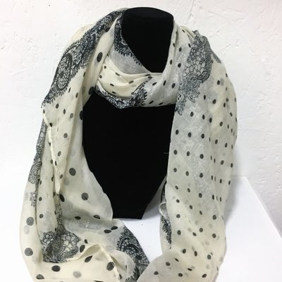 Evening Shawl Nice Black & Beige