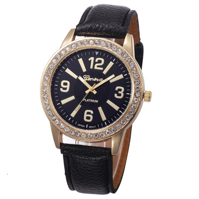 Geneva Gold Lady Watch Black
