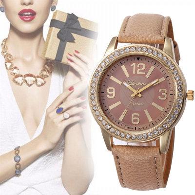 Geneva Gold Lady Watch Beige