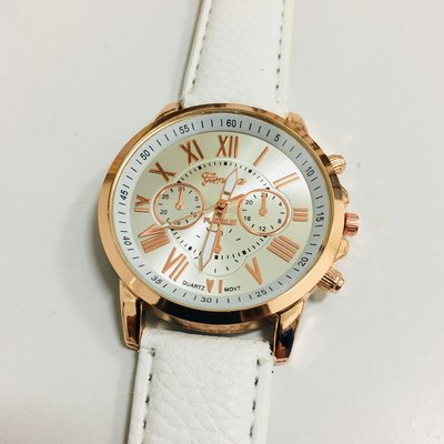 Watch Women Roman Gold White