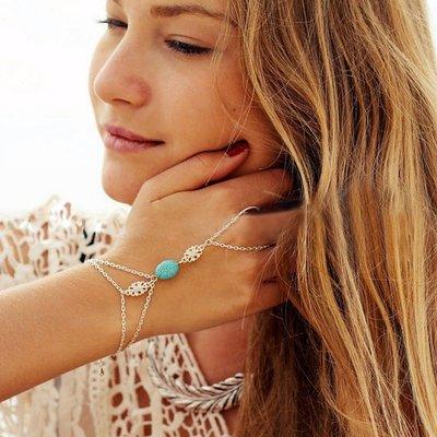 Multi Chain Slave Bracelet Silver Turquois