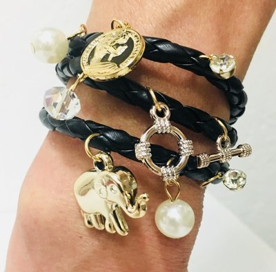 A Black Gold Charm Wrap Bracelet