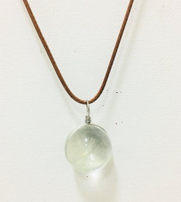Necklace  Leather Glass Seed