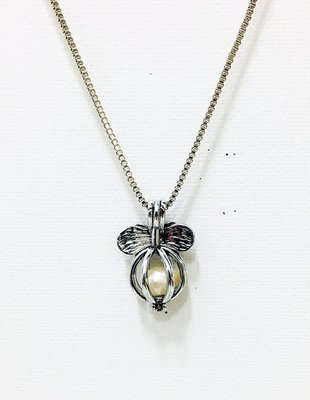 Necklace Ribbon Caged Pearl Silver
