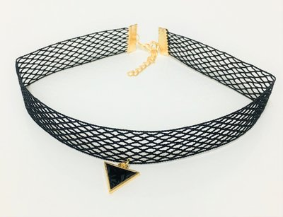 Necklace Naughty Choker Gold Triangle Black