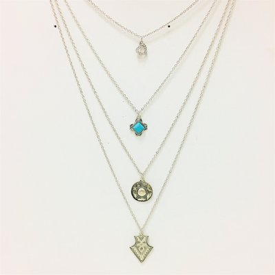 Necklace Multi Layher Silver Meets Turquois
