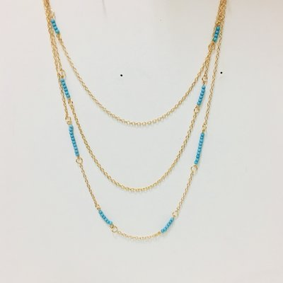 Necklace Multi Layher Blue Bead Gold