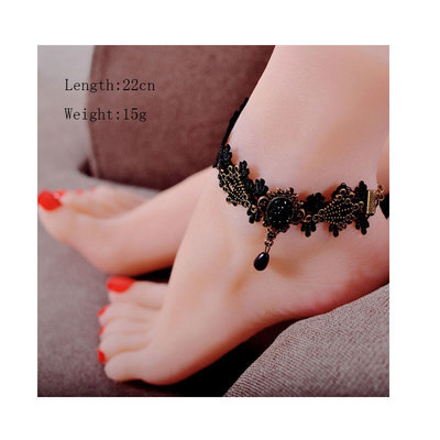 Ankle Bracelet Black Drop