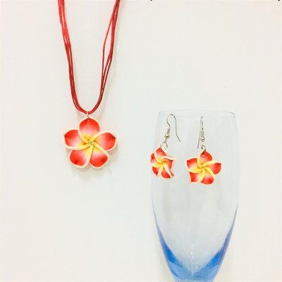 Hawaiian Flower Set Red