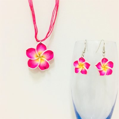 Hawaiian Flower Set Fuchsia