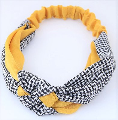 Hair Band Decorate Black White Sweet Yellow