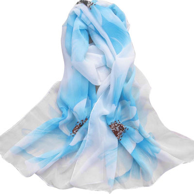 Floral Shawl White Blue