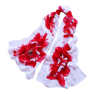 Floral Shawl White Red
