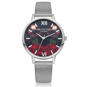 Red Roses Silver Watch