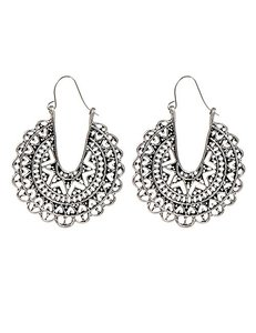 Earrings Big Silver Round