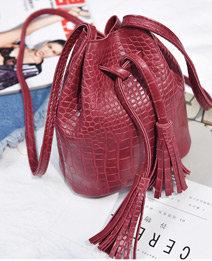 B Nice Vintage Red Tassel Bag