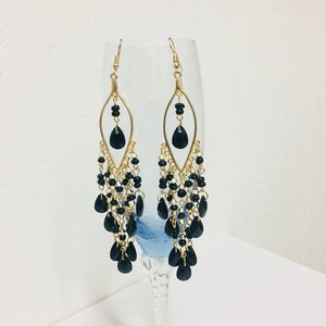 Earrings Black Drops Gold Big
