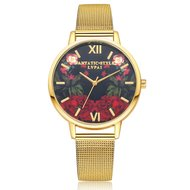 Red Roses Gold Watch